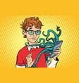 teen and octopus in the smartphone danger online vector image vector image