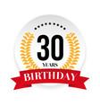 thirtieth birthday badge label vector image