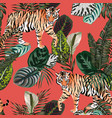 tiger in jungle living coral background vector image vector image