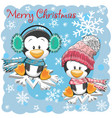 two cute penguins on the snowflakes vector image vector image