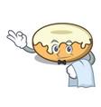 waiter donut with sugar mascot cartoon vector image vector image