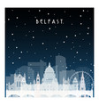winter night in belfast night city in flat style vector image vector image