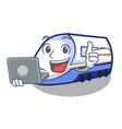 with laptop shinkansen train in shape mascot vector image