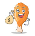 with money bag fried chicken character cartoon vector image