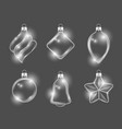 xmas glass toys new year balls stars and gifts vector image vector image