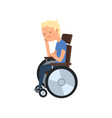 young disabled man sitting in wheelchair vector image vector image