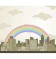 rainbow over a city vector image