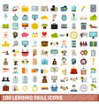 100 lending skill icons set flat style vector image vector image