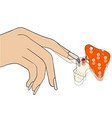 a girl trying to get rid of a nail fungus humor vector image