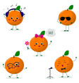 a set of five oranges smiley in different poses in vector image vector image