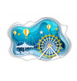 amusement park with ferris wheel paper art vector image vector image