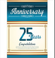 anniversary retro blue background 25 years vector image vector image