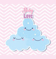 bashower cute clouds heart love decoration vector image vector image