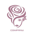 beautiful woman rose logo vector image