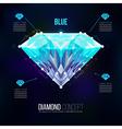 Blue diamond shape of a color blue Brilliant vector image vector image