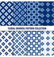blue oriental floral patterns indigo vector image
