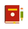 book and pen icon flat style vector image vector image