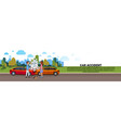 car accident on road vehicle collision with male vector image vector image
