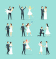 cartoon newlyweds people posing set vector image vector image
