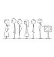 cartoon of line of people waiting in queue vector image
