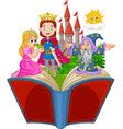 cartoon open book with frog prince story vector image