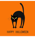 Cat arch back Yellow eyes fangs curl moustaches vector image vector image