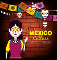 catrina with skull party banner to day of the dead vector image vector image