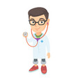 caucasian boy in doctor coat holding a stethoscope vector image vector image