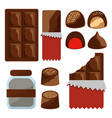 chocolate set icons cocoa food sweet vector image