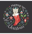 Christmas card cute little cat vector image vector image