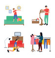 collection of daily life routine flat vector image vector image