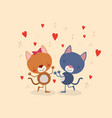 color background with couple of kittens dancing in vector image vector image