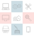Computer service outline icons vector image vector image