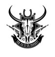 cowboy animal skull emblem logo typography vector image