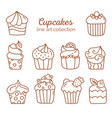 cupcake line art collection vector image vector image