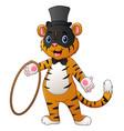 cute circus tiger cartoon holding a ring vector image vector image