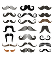 Different retro style moustache clip-art set vector image