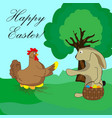 easter bunny takes the egg from the chicken vector image
