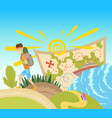 go travel concept a tourist with a backpack goes vector image