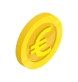 Gold coin with euro sign icon isometric 3d style vector image