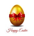 gold easter egg tied red ribbon vector image vector image