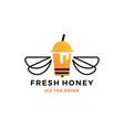 honey ice tea cup bubble drink logo icon label vector image