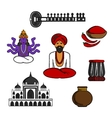 Indian travel and culture elements vector image
