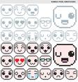 Kawaii Pixel Emoticons vector image vector image