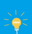 Light Bulb with Idea Word Flat Icon vector image vector image