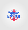 mackerel fish logo vintage seafood with anchor vector image