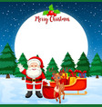 merry christmas card with santa and reindeer vector image