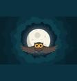 owl flies in the clouds under moon vector image vector image
