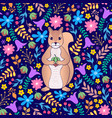 pattern with orange squirrel and flowers vector image vector image