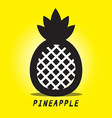 Pineapple Black Ananas Symbol on Yellow vector image